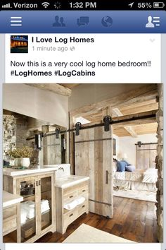 I ❤️ EVERYTHING about this rustic master bedroom & bath.
