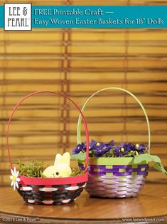Happy Easter from Lee & Pearl! Make beautiful Easter baskets for your 18 inch / American Girl dolls using inexpensive ribbon, card stock and Lee & Pearl's FREE tutorial and printable package. My American Girl Doll, American Girl Crafts, Ag Doll Crafts, Diy Doll, Printable Crafts, Free Printables, Pearl Crafts, American Girl Accessories, House Accessories