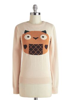 Kawaii Oh My Sweater - Cotton, Mid-length, Orange, Brown, Casual, Kawaii, Quirky, Long Sleeve, Cream, Print with Animals    reminds me of Totoro!