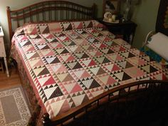 Lady of the Lake quilt in pinks and browns