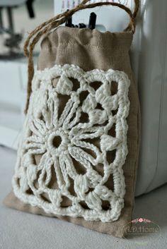 woreczek lniany, na szydełku, crochet, na prezent, lawendowy, hand made, rękodzieło, Pracownia A.D.Home