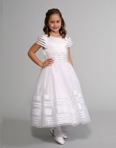 Sweetie Pie Collection Style 3033 - WHITE Satin and Organza Dress with Ribbon Bands White Flower Girl Dresses, Wedding Flower Girl Dresses, White Dress, Young Girl Fashion, Baptism Dress, Organza Dress, Dresses For Less, Communion Dresses, White Satin