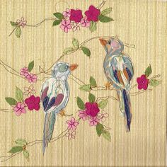 Claire Coles- Applique and free machine embroidery Free Motion Embroidery, Free Machine Embroidery, Embroidery Fonts, Art Textile, Textile Artists, Bordados E Cia, Bird Applique, Collage Art Mixed Media, Thread Painting