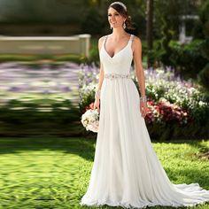 2016 New Bridal Gown V-neck Sleeveless Long Vestido De Novia Pleat Crystal Beaded White Chiffon A-Line Wedding Dresses Casamento