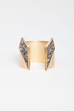 Lady Grey gold / crystals cuff bracelet #geometric