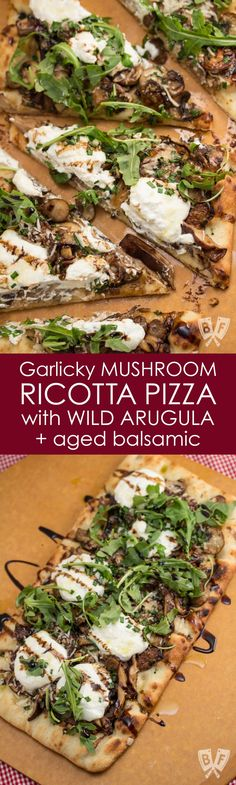 Garlicky Mushroom Ricotta Pizza with Wild Arugula + Aged Balsamic: Sautéed mushrooms are topped with ricotta and Parmesan cheeses and baked into a store-bought pizza crust for an easy, elegant weeknight meal!