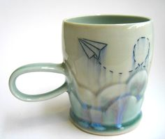 READY TO SHIP Cloudy Paper Airplane by SilverLiningCeramics