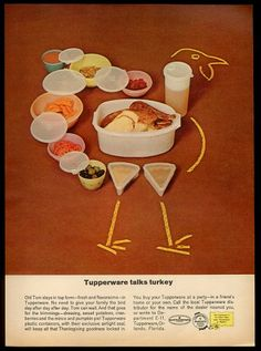 "retro-devil: "" yesteryearads: "" ""Old Tom stays in top form -fresh and flavorsome- in Tupperware"" Tupperware Circa "" This looks like the chalk outline at a crime scene. Thanksgiving Greetings, Vintage Thanksgiving, Thanksgiving Leftovers, Vintage Fall, Vintage Holiday, Thanksgiving 2013, Holiday Fun, Vintage Tupperware, Retro Ads"