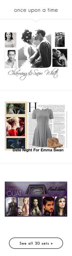 """""""once upon a time"""" by tiannaloved ❤ liked on Polyvore featuring art, Once Upon a Time, Cameo Rose, TOMS, snowwhite, hook, emma, princecharming, regina and merry"""