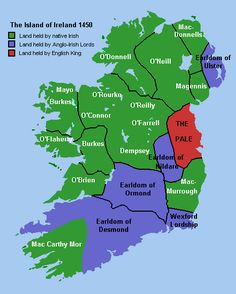 Gaelic Ireland - Ireland in 1450 showing lands held by native Irish (green), the Anglo-Irish (blue) and the English king (red). Ireland Map, Ireland Travel, Ireland Facts, Celtic Culture, Family Genealogy, Dna Genealogy, British Isles, Northern Ireland, Celtic
