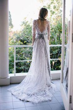 grey bridal sash to highlight the waist line