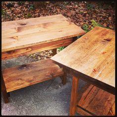 Handmade rustic end tables