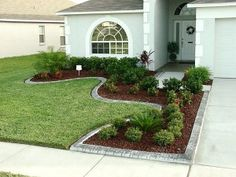 Like the landscaping around the driveway for a small front yard. Small Front Yard Landscaping, Front Yard Design, Driveway Landscaping, Outdoor Landscaping, Backyard Landscaping, Outdoor Gardens, Landscaping Ideas, Driveway Ideas, Farmhouse Landscaping