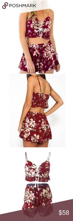 Floral Print Jumpsuit Rompers Cotton polyester Spaghetti strap deep v neck crop top, lace up cross front High waist flare pleated shorts Suitable for outdoor, party, beach. A great choice for travel Small=US 4-6, Medium=US 8-10, Large=US 12 Pants Jumpsuits & Rompers