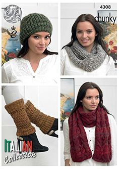 01377d75499937 King Cole Ladies Venice Chunky Knitting Pattern Womens Accessories Scarf  Cowl Hat Leg Warmers - I Crochet World