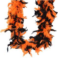 Chandelle Feather Boa 72in-Black/Orange Mix