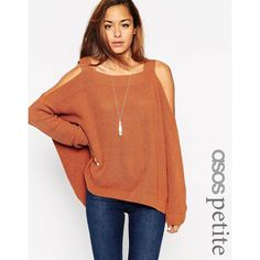 ASOS PETITE Chunky Jumper With Cold Shoulder and Split Sides ($45) ❤ liked on Polyvore featuring tops, sweaters, petite, tobacco, asos sweaters, cut out shoulder top, cold shoulder tops, oversized jumper and open shoulder top