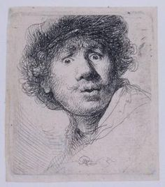 Self-Portrait With Beret, By Rembrandt Van Rijn, Dutch Print, Etching On Paper. Rembrandt Was 24 When He Created This Etching Poster Print Rembrandt Etchings, Rembrandt Self Portrait, Rembrandt Drawings, Self Portrait Drawing, Rembrandt Paintings, Pencil Portrait, Drawing Portraits, Rembrandt Art, Oil Portrait