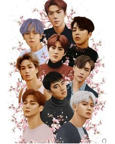 """""""My painting of EXO 🌸❤️ i spent a lot of time on this so please give it some love 🙇♀️ Kpop Exo, Suho Exo, Park Chanyeol, K Pop, Exo Couple, Exo Fan Art, Exo Lockscreen, Mood Wallpaper, Exo Ot12"""