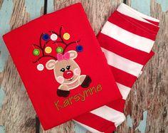 Girly Reindeer Christmas Pjs - Girl Oranaments Pajamas- Red/White Striped Pajamas - Christmas Outfit