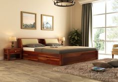 Buy Walken Bed With Storage crafted with Sheesham Wood Online in India. Get Wooden Bed With Storage (Queen Size, Honey Finish) @ Wooden Street Wooden Bed With Storage, Single Beds With Storage, Bed Designs With Storage, Bunk Bed Designs, Bed Storage, Wooden Beds, Bed Headboard Storage, Wooden Shoe, Drawer Storage