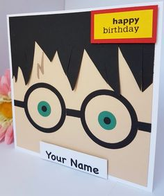 Personalised Harry Potter Glasses Card Handmade Kids Adults Gryffindor Son Daughter Brother Sister G Birthday Cards For Brother, Kids Birthday Cards, Handmade Birthday Cards, Boy Birthday, Funny Birthday, Boy Cards, Kids Cards, Harry Potter Birthday Cards, Cumpleaños Harry Potter