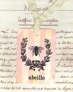 Idea.....do a Parisian bee embroidery on pink and white striped fabric, like ticking.