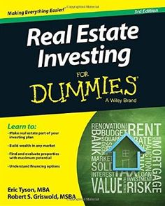 """Read """"Real Estate Investing For Dummies"""" by Eric Tyson available from Rakuten Kobo. Make real estate part of your investing strategy Do you want to get involved in real estate investing, but aren't quite . Mortgage Humor, Mortgage Tips, Mortgage Quotes, How To Know, How To Make Money, Kindle, Online Real Estate, Real Estate Investing, Real Estate Marketing"""