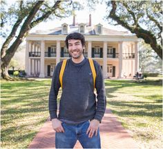 Wedding and portrait location idea; Man poses at Oak Alley Plantation during Spring near New Orleans, Louisiana. - April O'Hare Photography http://www.apriloharephotography.com