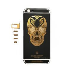 Matte BLACK Engraved Gold Skull Pattern 24K Gold Limited Edition Metal Back Cover Housing withLG&Buttons for iPhone 6S Plus,Free