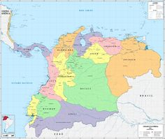 The 37 provinces and their departments, in the Republic of Gran Colombia from 1824 to