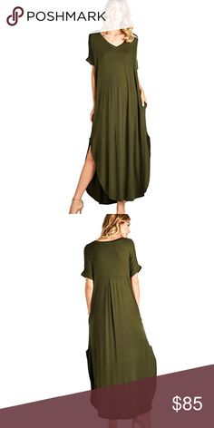✨ Side Slit Short Sleeve Maxi w Pockets Olive Super soft, comfortable fabric with a v neck, short sleeves, and flirty side slits. This maxi dress will be your favorite casual go to. Loose, easy fit. Order a size down if you'd like a more fitted look or a size up if you want a very oversized look.  ❌ Sorry, no trades.  306843  a line a-line vintage  fairlygirly fairlygirly Dresses Maxi