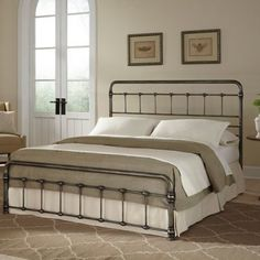Fashion Bed Group Fremont Complete King Bed in Weathered Nickel