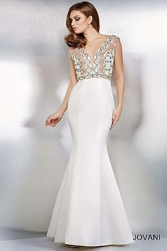 Ivory Mermaid Evening Dress 29127