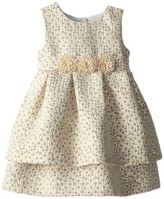 Pippa & Julie Little Girls' Brocade Party Dress, Gold, 3T