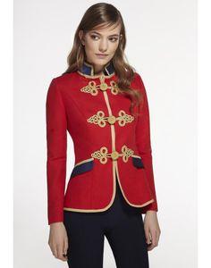 8589b97c31c0 CAPRICE RED-NAVY BLAZER Trajes Navideños, Vestidos Tipo Chanel, Chaquetas  Negras, Abrigos