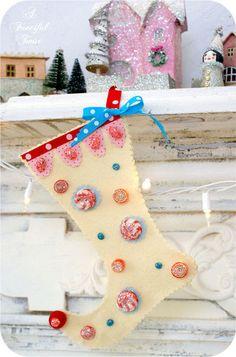 Sparkly, Happy, No Sew, Christmas Stocking...