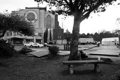 """Tent City 3 mid-morning set-up at St. Mark's.   Another stay for TC3 at St. Mark's, everyone seems to love it here, Lantz says, """"I think all the praying that has gone on here has even made the ground holy, it just feels good being here.""""  Goodbye THANK YOU to SPU and hello THANK YOU to St. Mark's!  Capitol Hill 3/24/2012"""