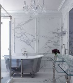 Kendall Wilkinson Design - bathrooms - marble tiled floors, marble floor tile, marble tiled bathroom, gray and white marble, marble wainscot...