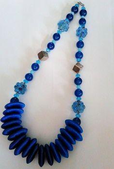 Hand wrap silk thread wooden bead,sterling silver,Indian glass lapiz crystal, special design by Thonghattha Handidea