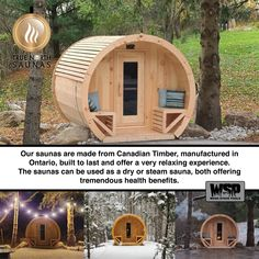 Canadian Barrel Saunas, wood burning or electric heat options Barrel Sauna, Steam Sauna, Through The Roof, Electric Stove, All Stainless Steel, Steam Room, Saunas, True North