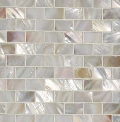 "Genuine Mother of Pearl Natural Minibrick Backsplash Tile (on 12"" x 12"" mesh)"