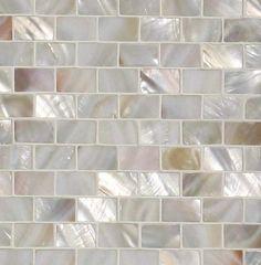 "Genuine Mother of Pearl Natural Minibrick Backsplash Tile (on 12"" x 12"" mesh)"