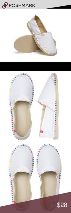 New Super Cute Havaianas Origine Espadrille SZ 7 New Super Cute Havaianas Origine Espadrille Ladies US Size 7  Havaianas Origine Espadrille White Rainbow. Achieve effortless chic in our crisp white espadrille with a cheeky pop of color. Featuring a heavy-duty canvas woven upper, anchored to the signature beige rubber sole with a rainbow blanket stitch. Havaianas Shoes Espadrilles