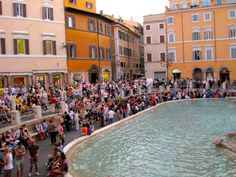 Crowd next to the Trevi Fountain, Rome.