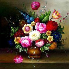 十字繡畫最新款粘貼鑽石畫油畫花瓶臥室餐廳花卉嬌豔欲滴方鑽滿鑽