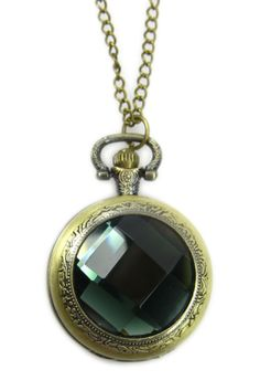 Round Crystal Pocket Watch Necklace by Eye Candy Los Angeles on Ring Clock, Jewelry Box, Jewelery, Pocket Watch Necklace, Necklace Types, Eye Candy, Pocket Watches, Jewelry Design, Crystals