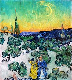 Van  Gogh Coupe walking among Olive Trees in a Mountainous Landscape with Crescent Moon