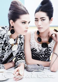 Caroline Brasch Nielsen & Liu Wen for Oscar De La Renta Spring Summer 2013