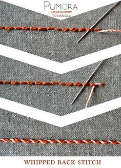 Pumoras stich-lexicon: whipped back stitch; umwickelter Rueckstich/Rückstich (DE); point de piqûre surjeté (FR); punto pespunte enrollado (ES)